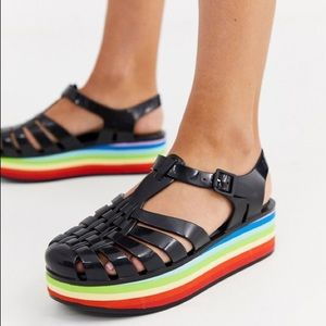 Melissa jelly sandal with rainbow flatform
